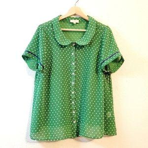 Modcloth Green Sheer Polkadot Collared Top